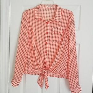 Timing chiffon button down plaid Size XL